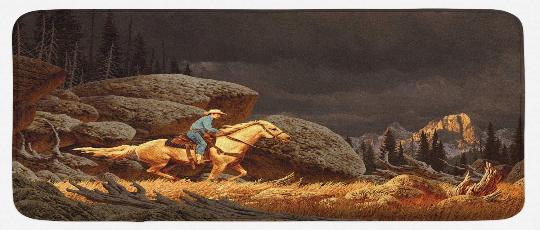 Ambesonne Western Kitchen Mat, Rock Mountain Landscape Cowboy Riding Horse NorthmericStyle, Plush Decorative Kitchen Mat with Non Slip Backing, 47