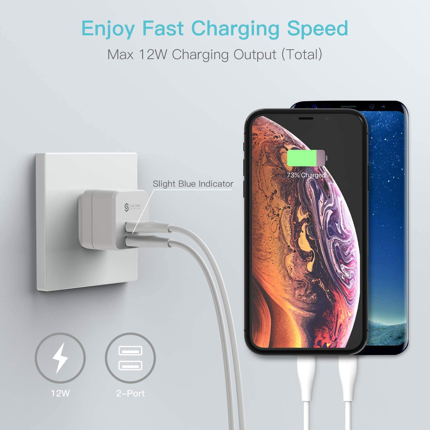 Syncwire Dual Port 12W USB Charging Cube with Foldable Plug for Apple iPhone XS//Max//XR//X//8//7//6S//6 Plus USB Wall Charger Block HTC Ipad Moto Samsung S10//S9//S8 2-Pack LG /& More