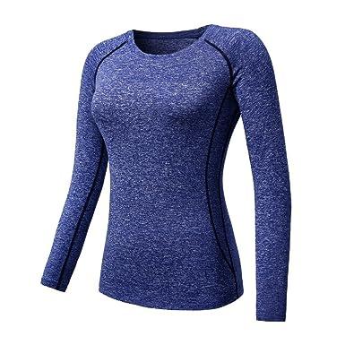 ESHOO Femmes Top de Sport a Manches Longue T-Shirt de Compression Gym Quick- 6219c15f818
