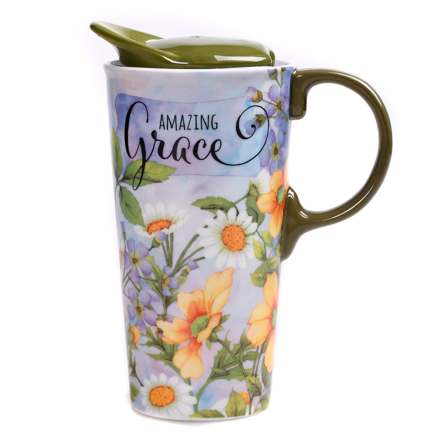 CEDAR HOME Travel Coffee Ceramic Mug Porcelain Latte Tea Cup With Lid in Gift Box 17oz. Amazing Grace