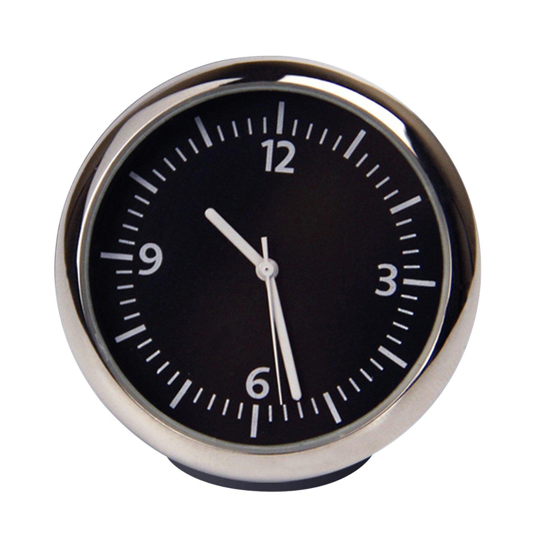 Horloge classique, ronde et analogique pour tableau de bord de voiture, à quartz, coque noire, cadran noir, aiguilles blanches - Discoball® 56618
