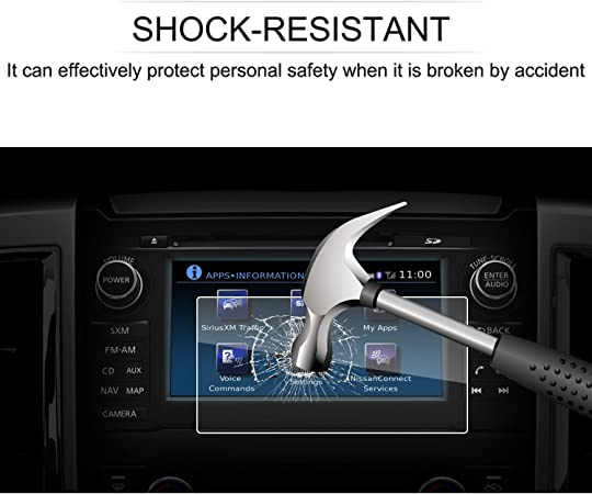 9H Tempered Glass Infotainment Center Touch Screen Protector Anti Scratch High Clarity LiFan 2016-2017 Nissan Titan 7 Inch LFOTPP 2016-2017 Nissan Titan NissanConnect 7 Inch Car Navigation Screen Protector,