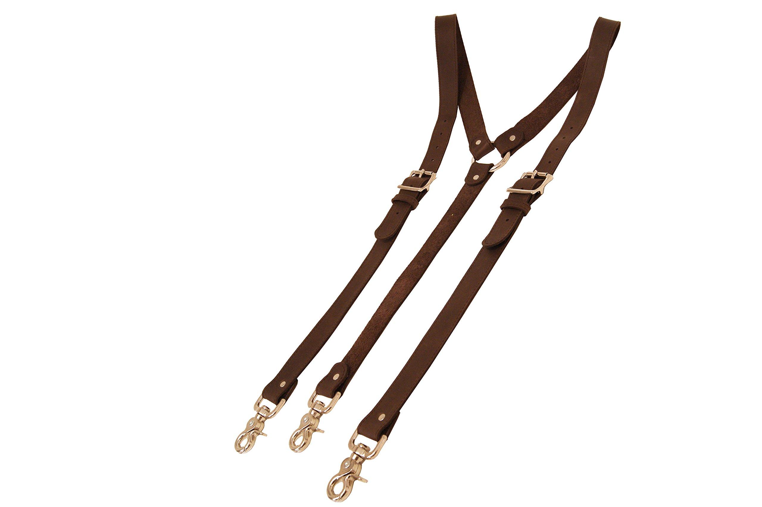 Project Transaction Men's Leather Suspenders M/L Dark Brown/Nickel Trigger Snaps
