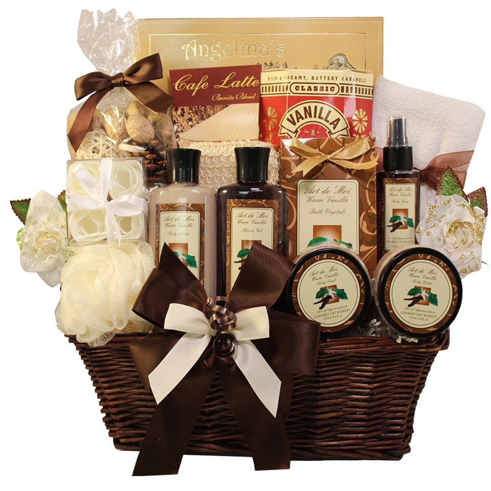 Essence of Luxury Warm Vanilla Spa Bath and Body Gift Basket Set ...
