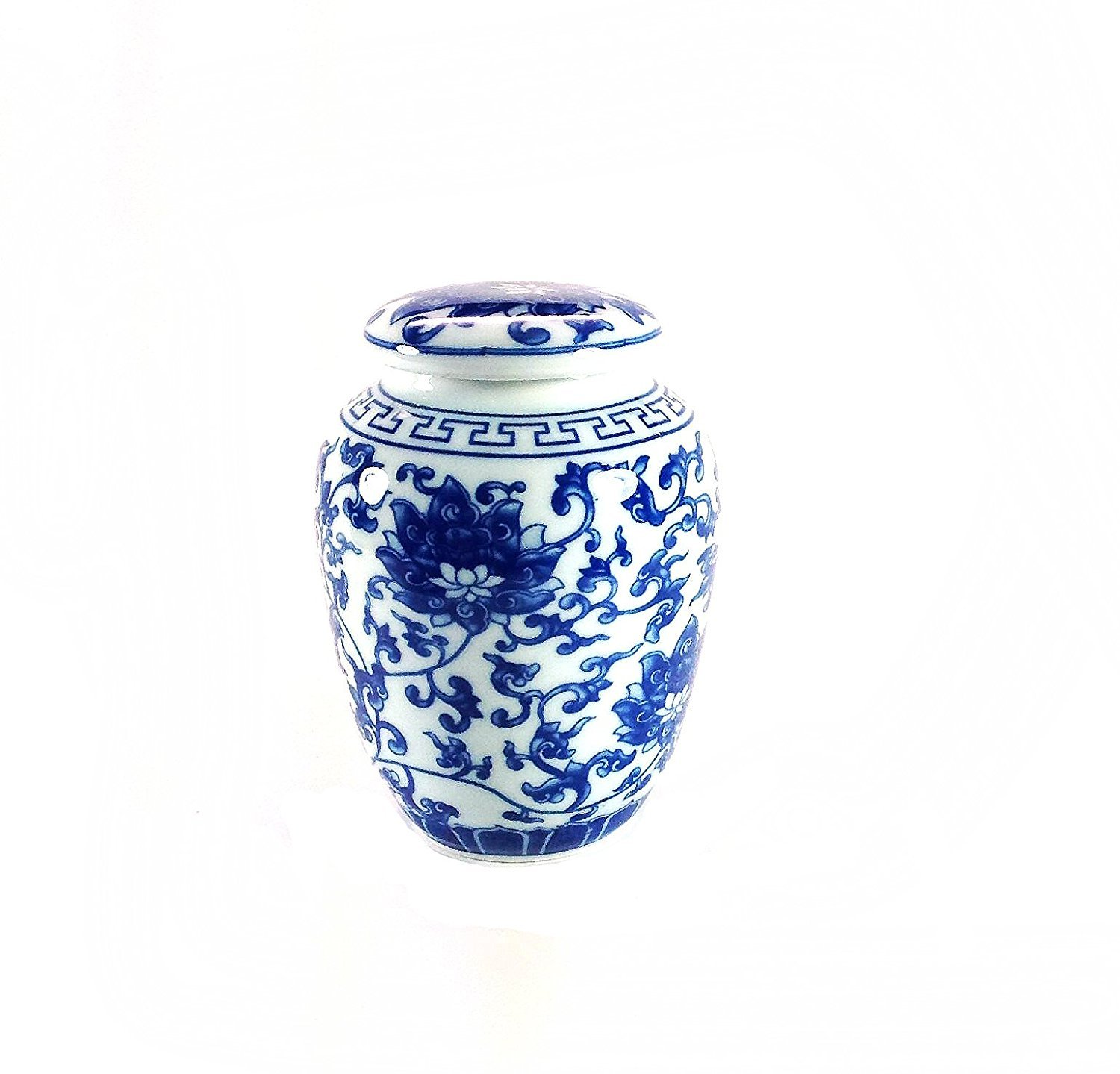Decorative Traditional Asian Blue and White Lotus Pattern Porcelain Tea Storage Container or Display Unit (Small) U.S.Sourcing Inc. GW-CBW108