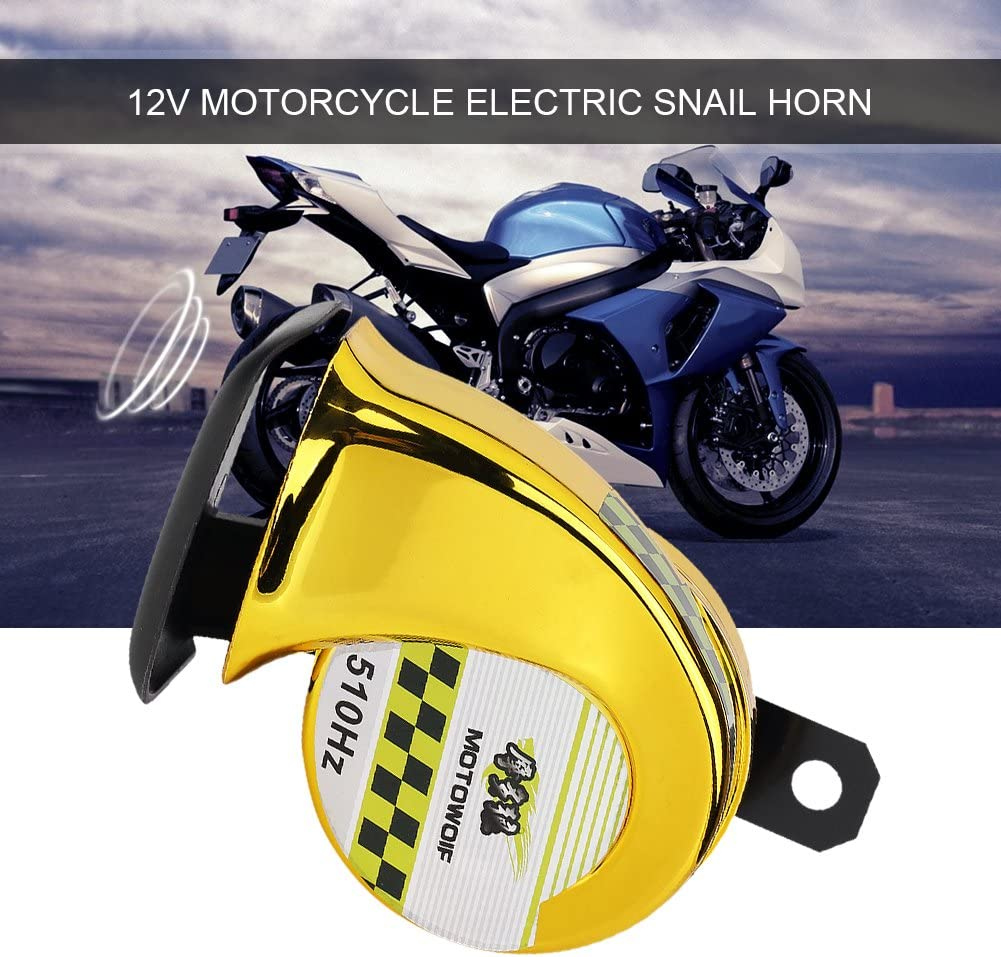 Qiilu Snail Horn Motorcycle Horn Super Loud for Universal DC 12V Motorcycles with 110dB Loudness Electric Snail Air Horn