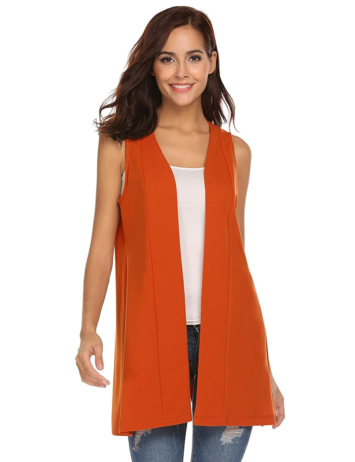 91e30f0f92c19 Zeagoo Women s Sleeveless Open Front Solid Color Long Vest Cardigan at  Amazon Women s Clothing store