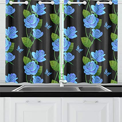 Plsdx Blue Rose Elegant Beauty Flowers Kitchen Curtains Window Curtain Tiers For Cafe Bath Laundry Living Room Bedroom 26x39inch 2pieces Amazon Co Uk Kitchen Home