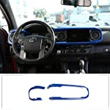 Car ABS Inner Look Central Console Dashboard Panel Cover Trim Stickers Fit For TOYOTA Tacoma 2016 2017 2018 2019 2020 (Blue)