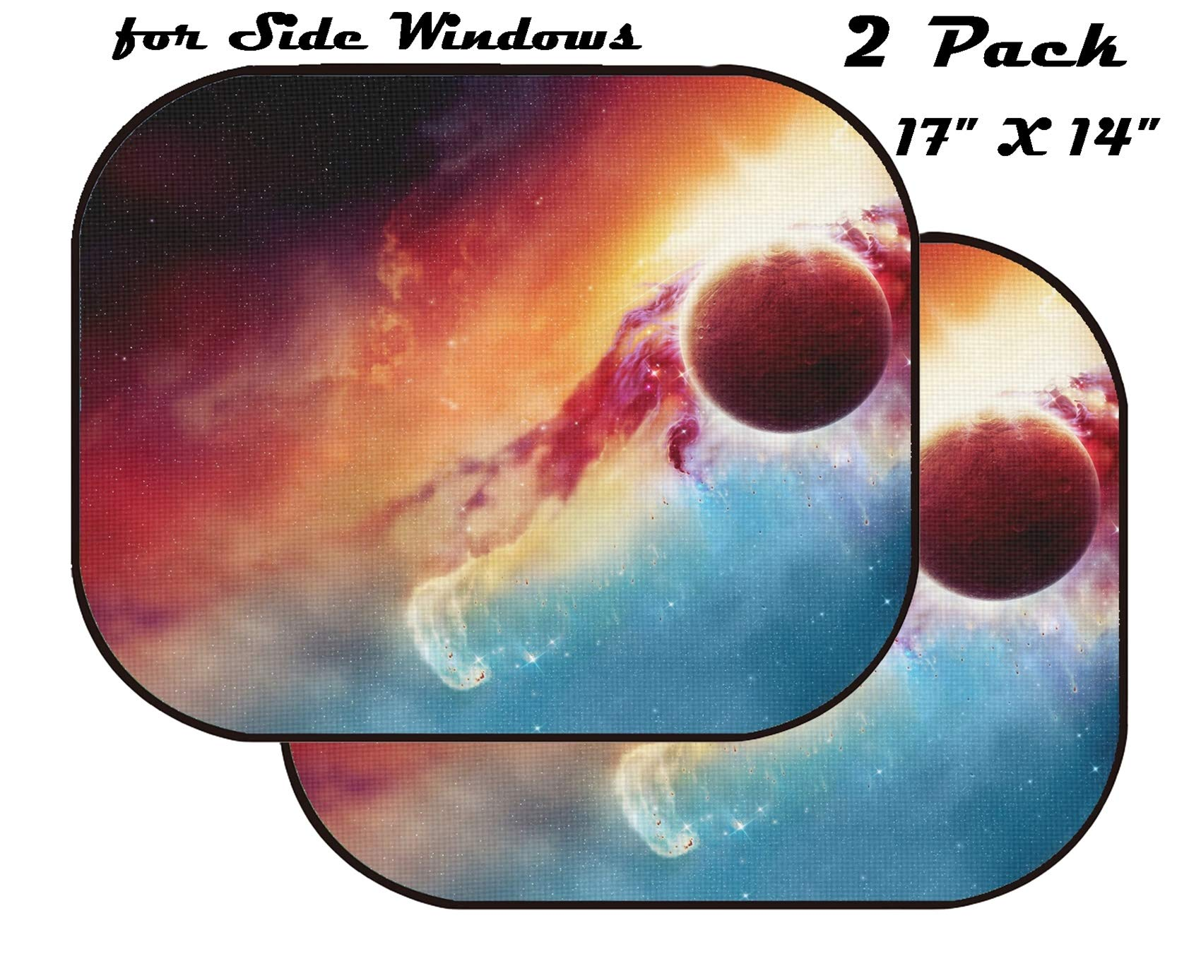 MSD Car Sun Shade for Side Window - UV Protector for Baby and Pet - Block Sunlight - Image of Background Star Space Galaxy Astronomy Cosmos Universe Abstract Planet Light Nebula Fantasy Science Sun