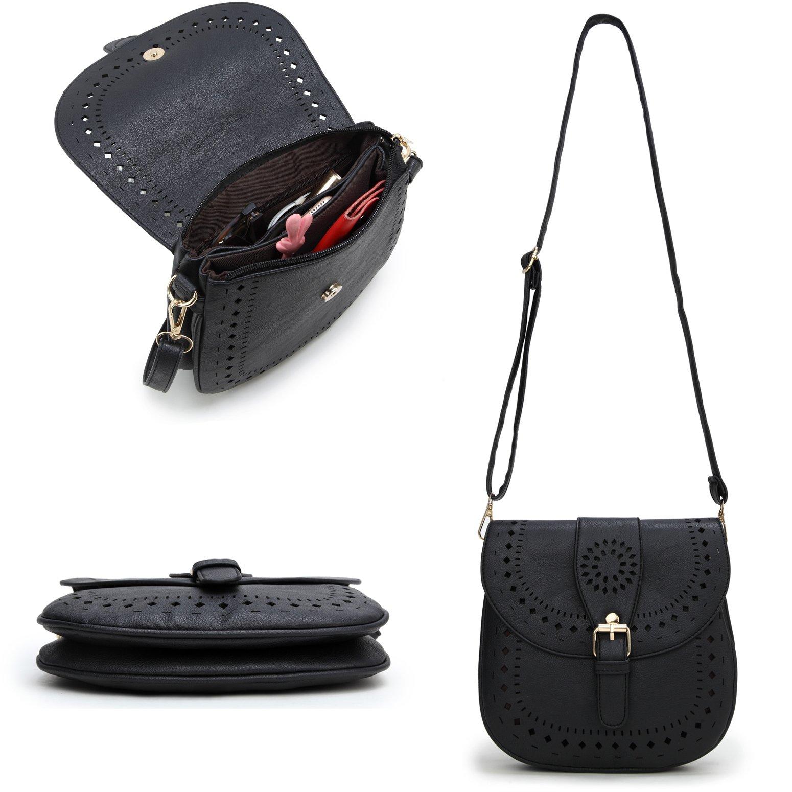 Forestfish Ladie's PU Leather Vintage Hollow Bag Crossbdy Bag Shoulder Bag (Black) by Forestfish (Image #5)