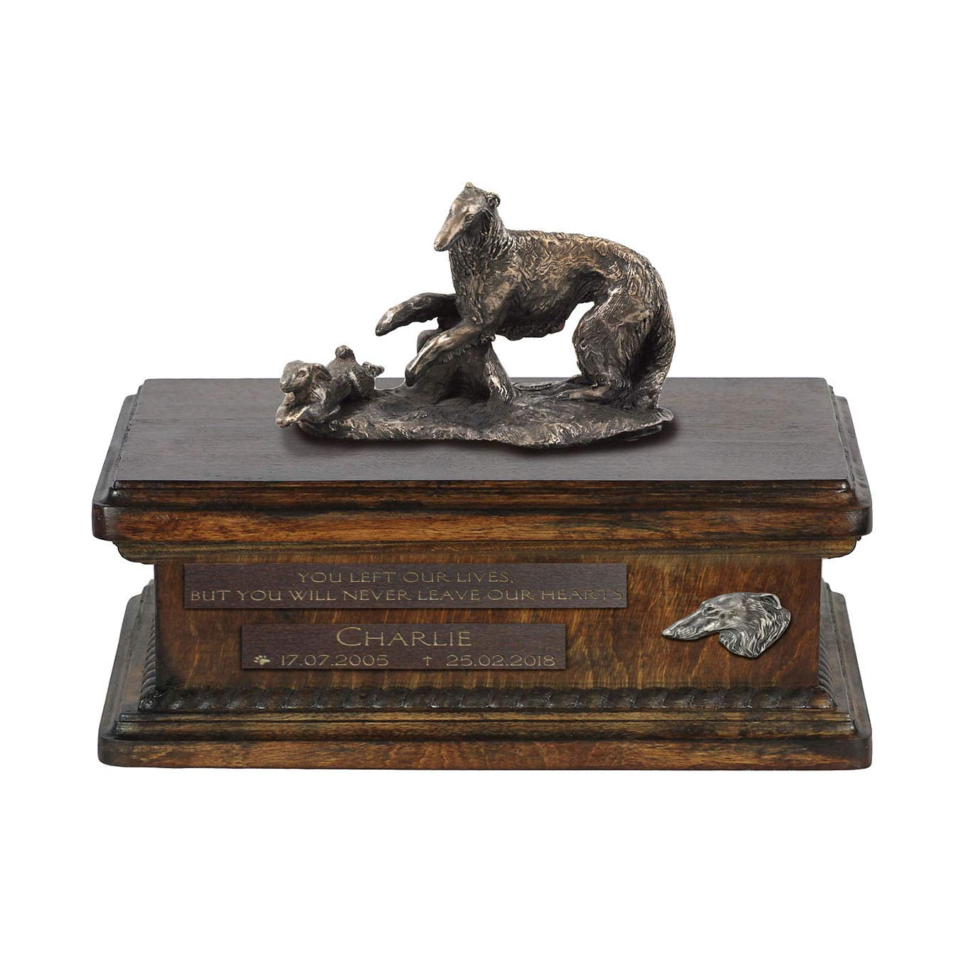 Borzoi, Urn for Dog Ashes Memorial with Statue, Pet's Name and Quote ArtDog Personalized