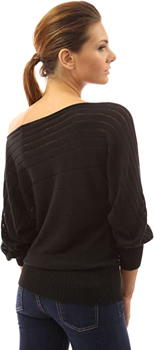 00ddb9c1c70 PattyBoutik Women's on/off one shoulder Semi-sheer Sweater - Amazon ...