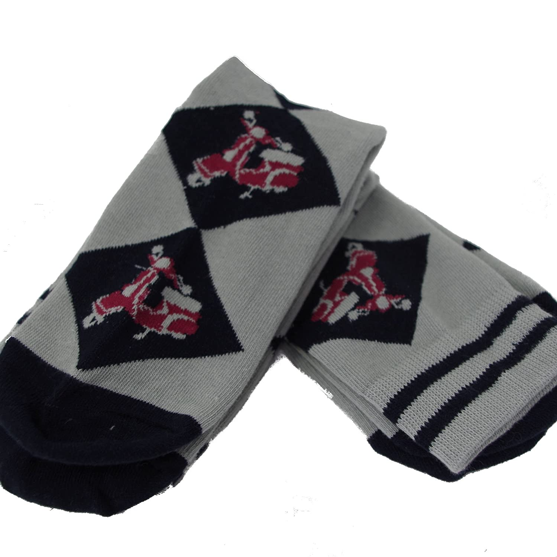 Pack of 2 Pairs Mens Argyle Red Vespa Socks