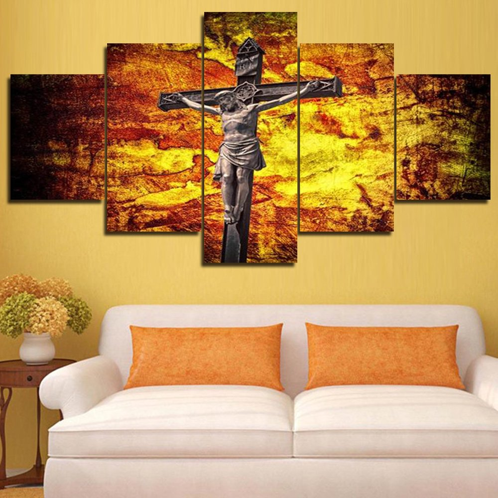 Amazon.com: Christ Crucified Canvas Paintings 5 Panel Wall Art ...
