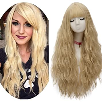 netgo Women s Light Blonde Wigs Long Fluffy Curly Wavy Hair Wigs for Girl  Heat Friendly Synthetic 871145923b