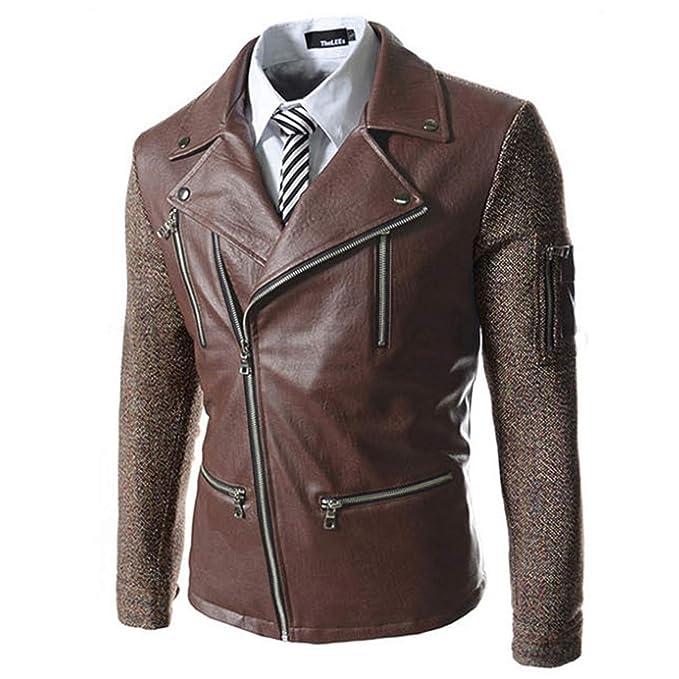 Hombres Primavera Oto?o PU Estilo Punk Leather Ropa Chaqueta Moda Ocio Locomotora Comprar Chaqueta Abrigo 728: Amazon.es: Ropa y accesorios
