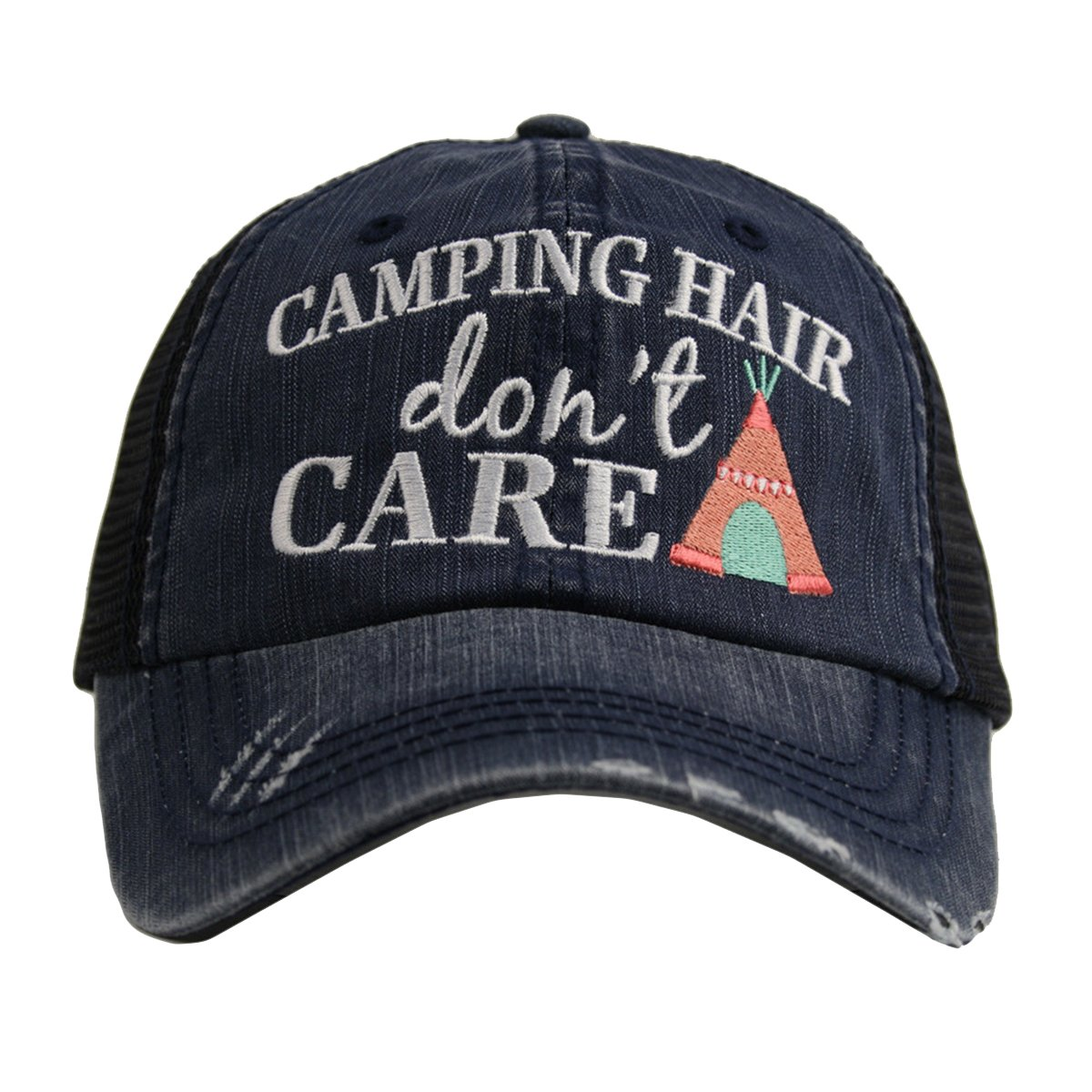 5ae316b6682 Katydid Camping Hair Don t Care Women s Distressed Grey Trucker Hat  (Navy Coral) at Amazon Women s Clothing store