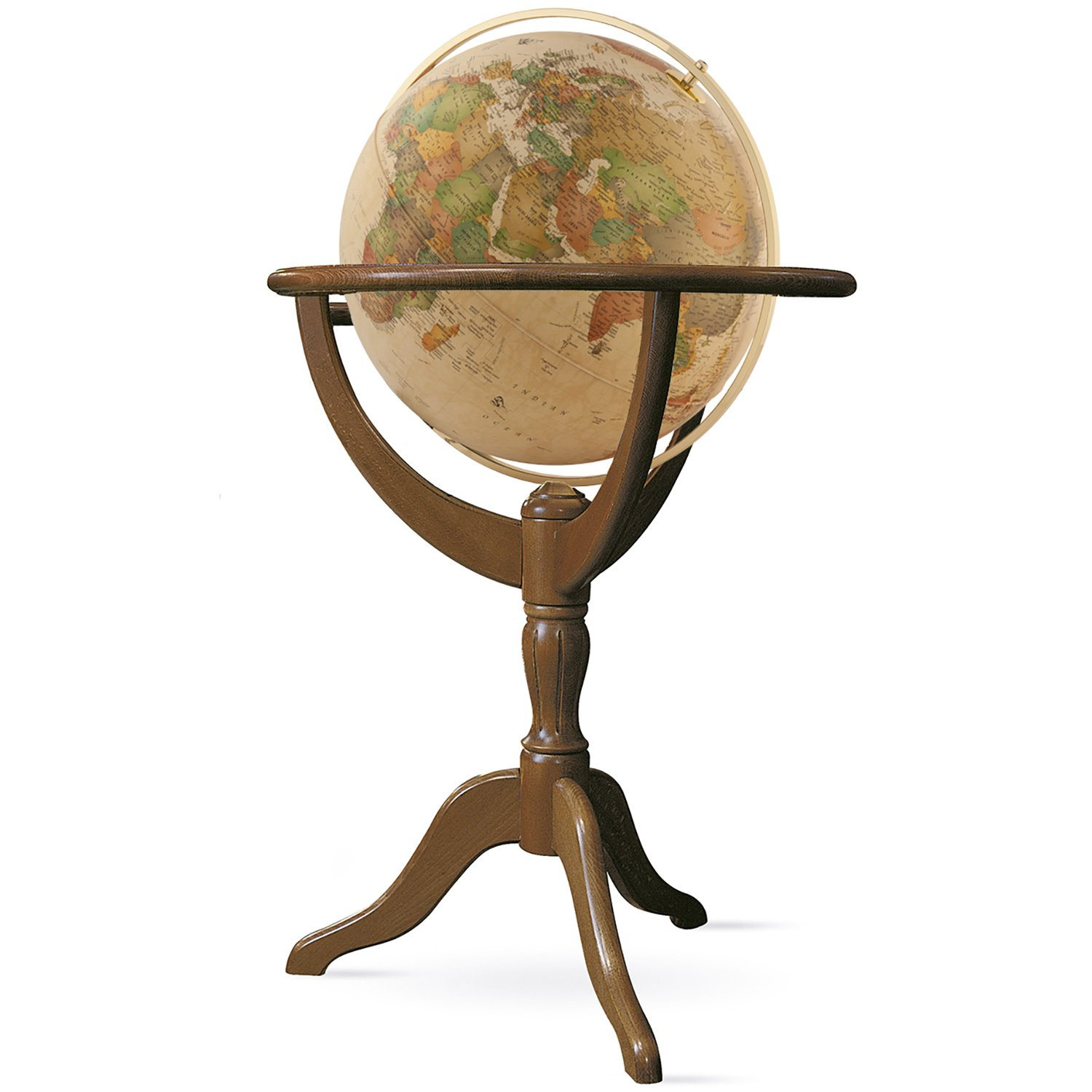 Waypoint Geographic Geneva 20 inch Diameter Political Landmass & Classic Antique Oceans Illuminated UP-TO-DATE Floor Standing Globe Metal Meridian-Duncan Phyfe Style 3-Leg Wood Stand (Classic Antique)