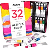 Acrylic Paint Set (32 Colors, 22 ml tubes, 0.74 oz.) for Canvas, Crafts, Wood Painting - Rich Pigment, Non Fading…