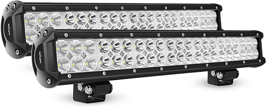 20INCH 126W LED Work Light Bar Combo+License Plate Frame Offroad Driving Truck