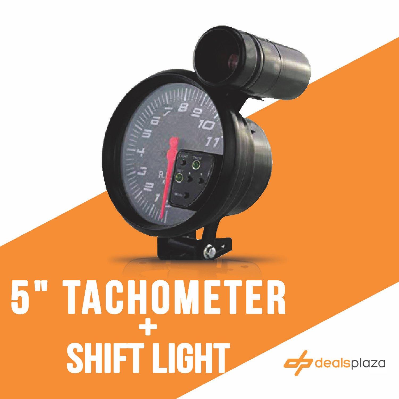 DEALSPLAZA 5'' inch 7 color LED 11K 12V Electronical RPM Tachometer Rev Counter Gauge With Red Shift Light Carbon fiber Face compatible Universal 11000 Sport Meter Kit Carbon fiber