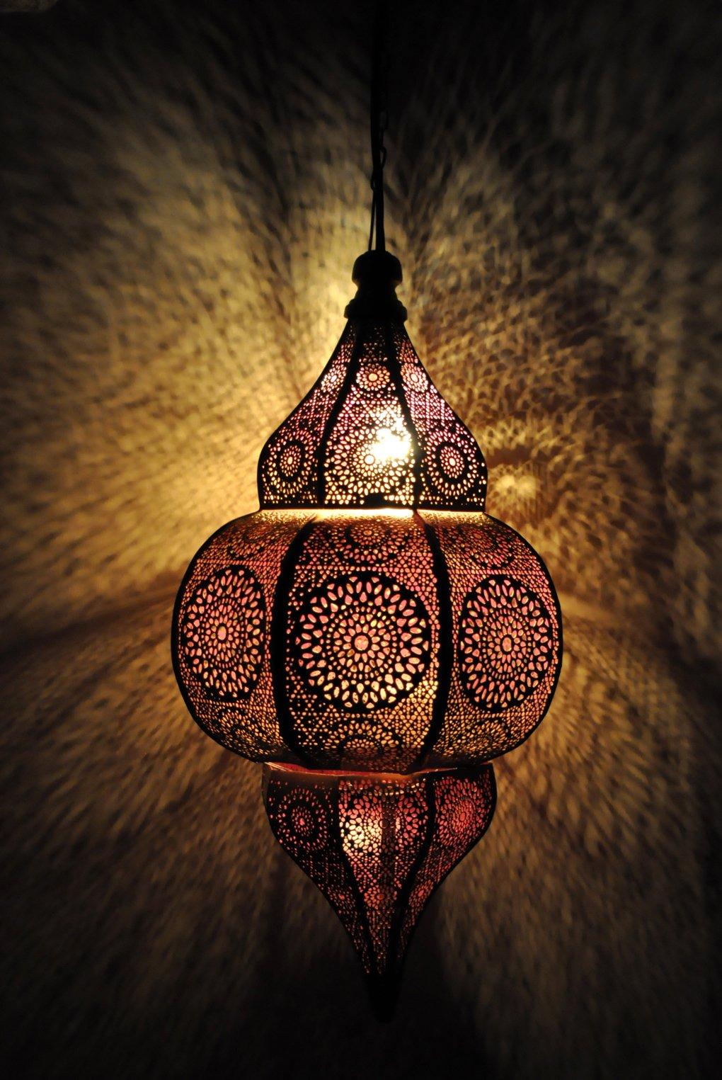 Lalhaveli Vintage Decorative Moroccan Hanging Pendant Light Fixture/Indoor & Outdoor Home Decor Ceiling Light for Living Room, Bed Room, Garden, Balcony & Patio, Metal Polished Brass Finish by Lalhaveli (Image #1)