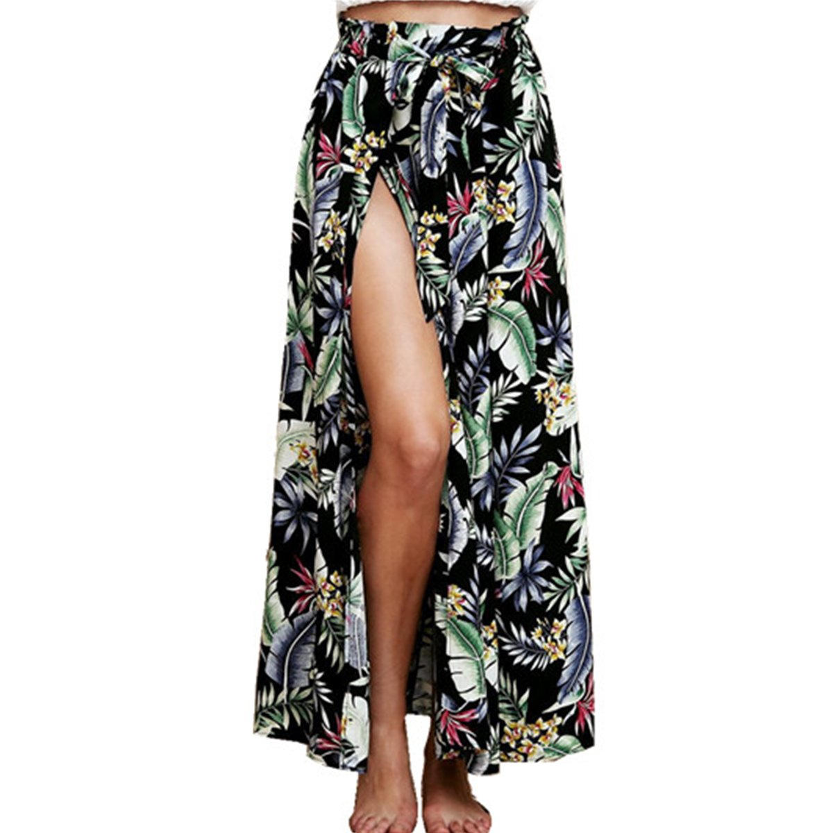 596154688c5 Plusnuolee Women's Bohemian Floral Print Tie up Long Maxi Skirt Split Beach  Wrap Skirt