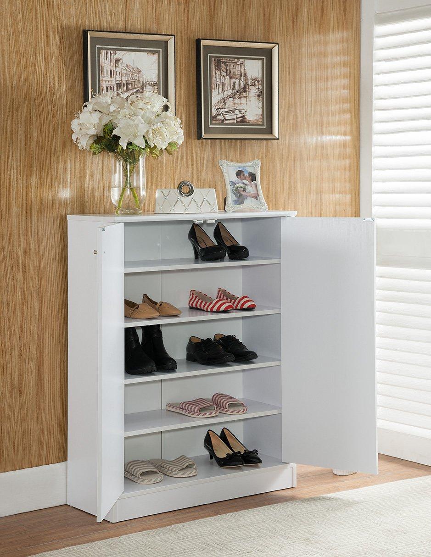 Smart Home 5 Tier 5 Shelves Shoe Cabinet Closet Organizer White