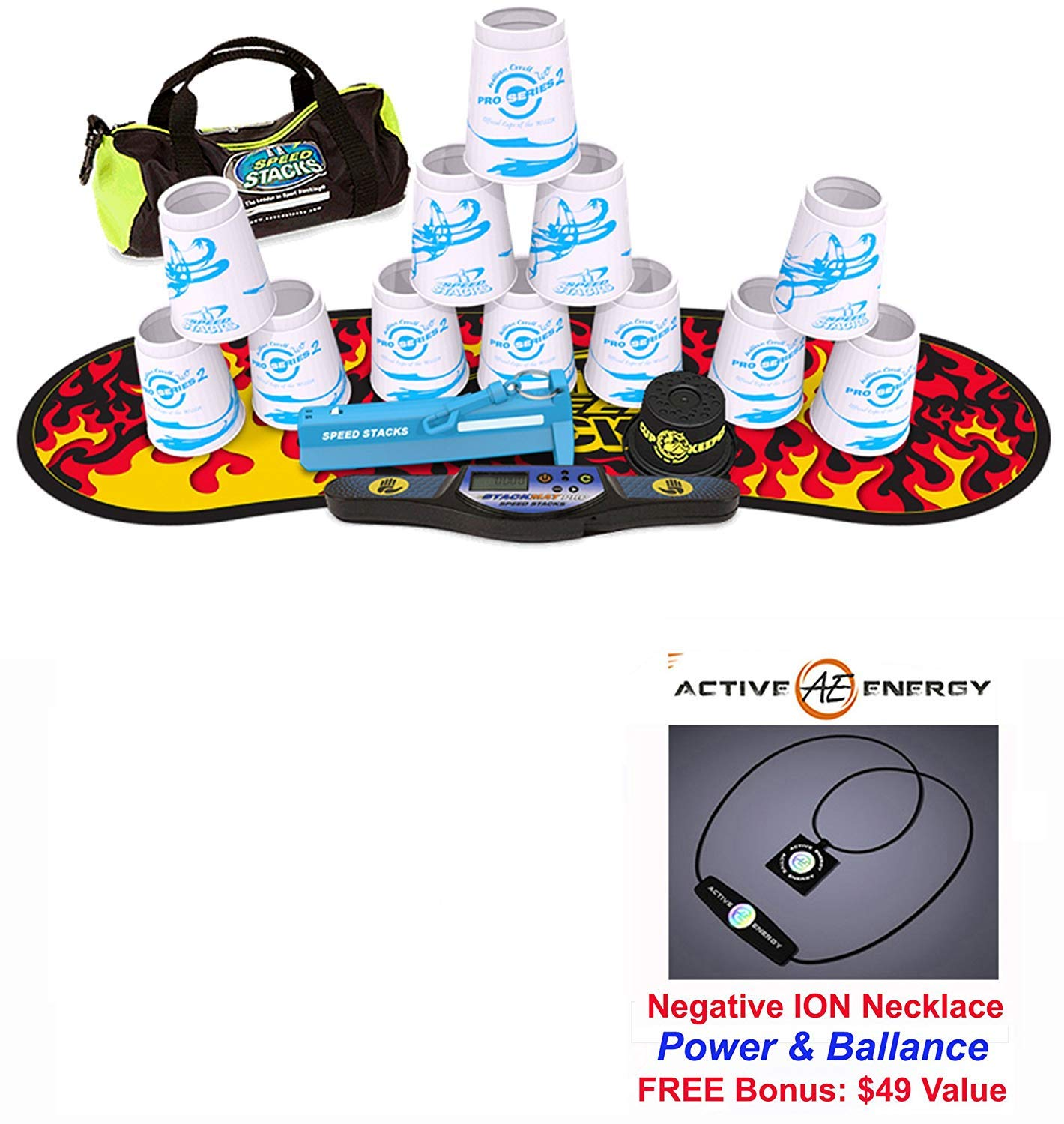 Speed Stacks Custom Combo Set 12 WHITE PRO SERIES 4'' Cups, Cup Keeper, Quick Release Stem, Pro Timer, Gen 3 Premium Black Flame Mat, 6 Snap Tops, Gear Bag + FREE Active Energy Necklace $49