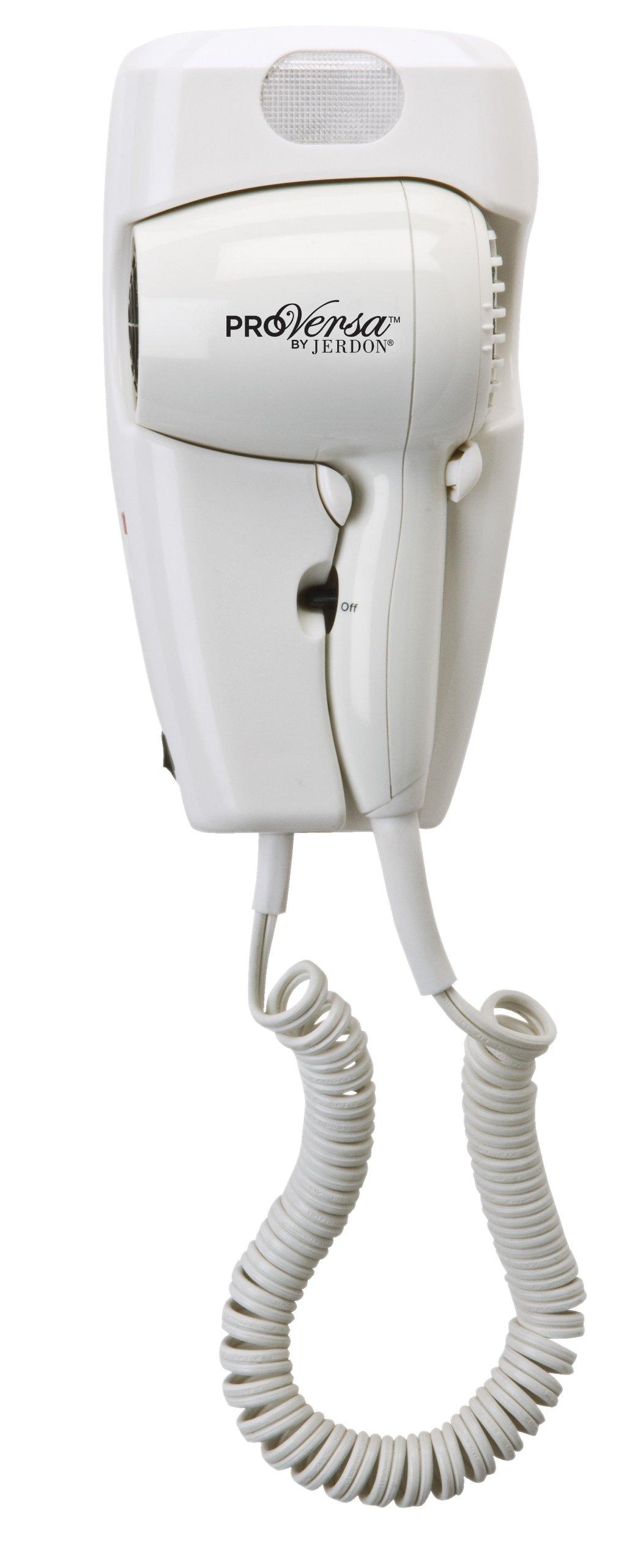 Pro Versa Jwm8cd Hard-Wired Wall Mount Hair Dryer, 1600-Watts, White by VersaPro