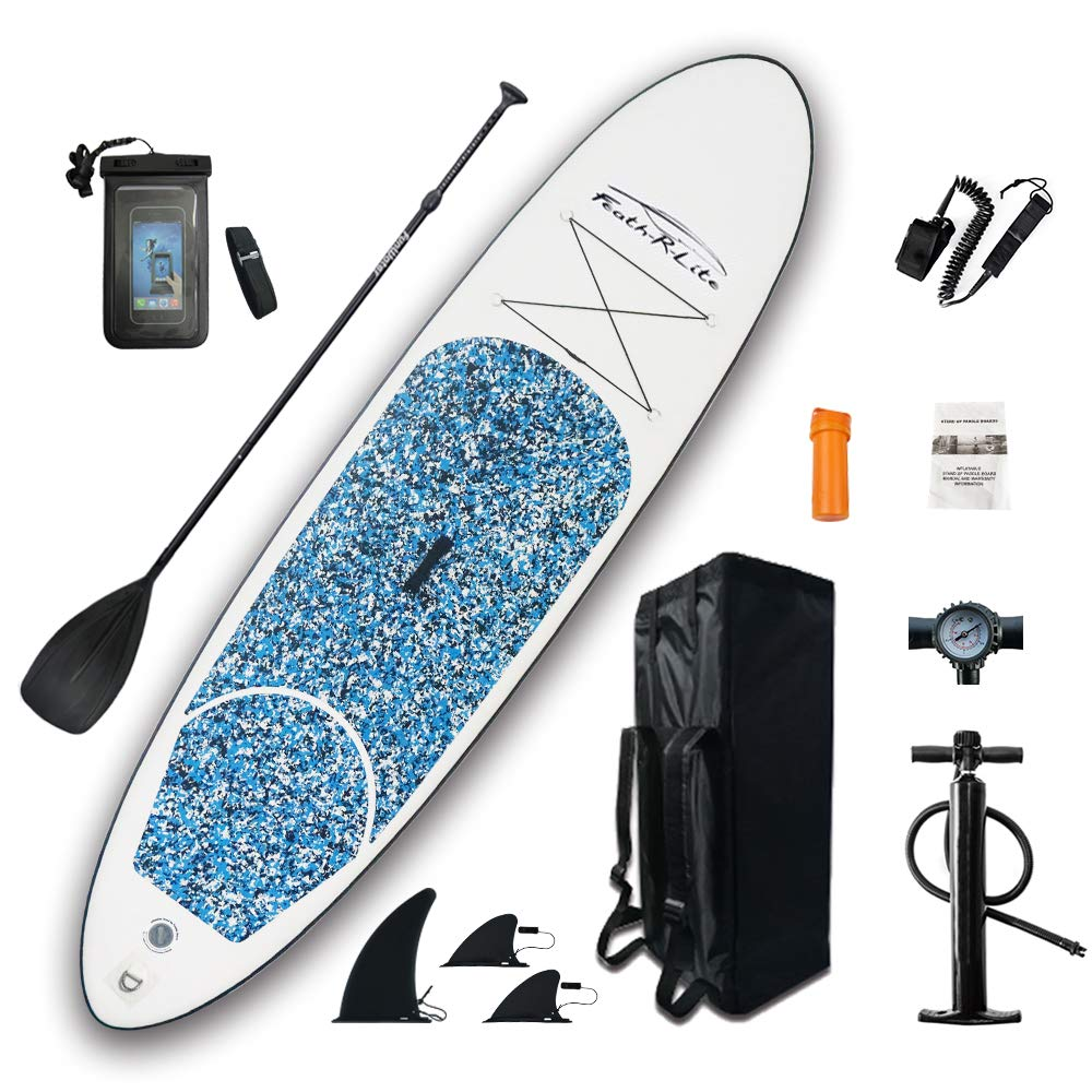 FEATH-R-LITE Light All Round Paddle Board 10'Length 30'' Widthick Isup with Adjustable Paddle,ISUP Travel Backpack,Leash (Camouflage, 10') by FEATH-R-LITE