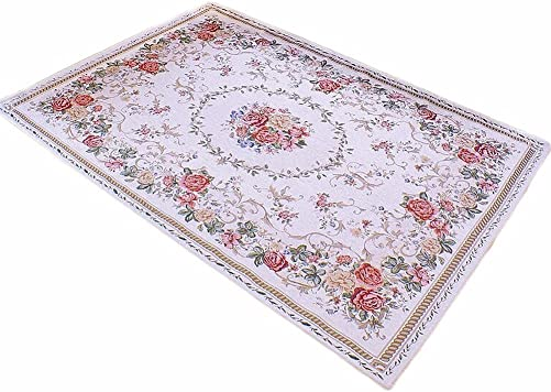 Ukeler Vintage Rustic Shabby Rose Rugs Luxury Soft Elegant Traditional Rugs Accent Floral Floor Rugs Carpet for Home Living Room Bedroom 55 x78.7 , Country Rose