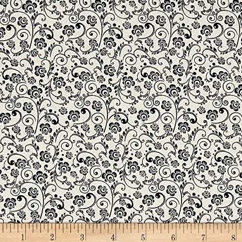 Santee Print Works The Red Basics Paisley Floral Black Fabric by The Yard