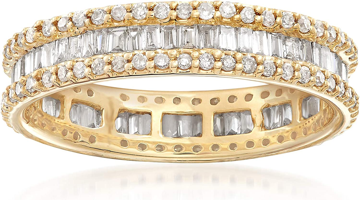 Ross-Simons 1.00 ct. t.w. Baguette and Round Diamond Eternity Ring in 14kt Yellow Gold