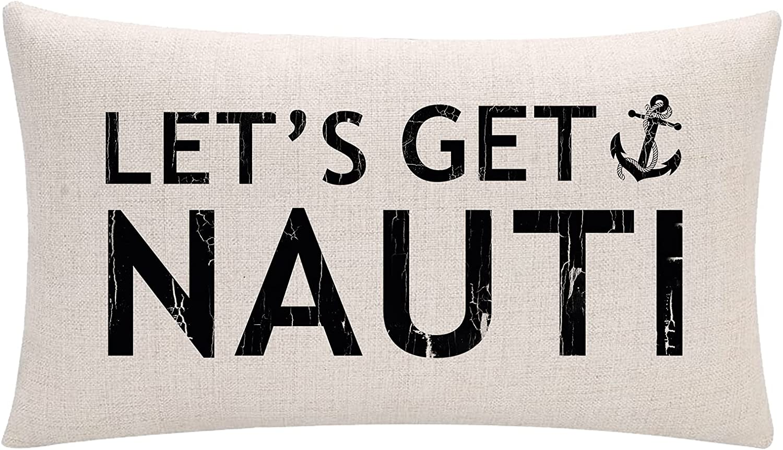 ULOVE LOVE YOURSELF Costal Beach Throw Pillow Cover Let's Get Nauti Anchor House Decor Cushion Covers Nautical Summer Decorative Lumbar Pillowcases 12x20 inch