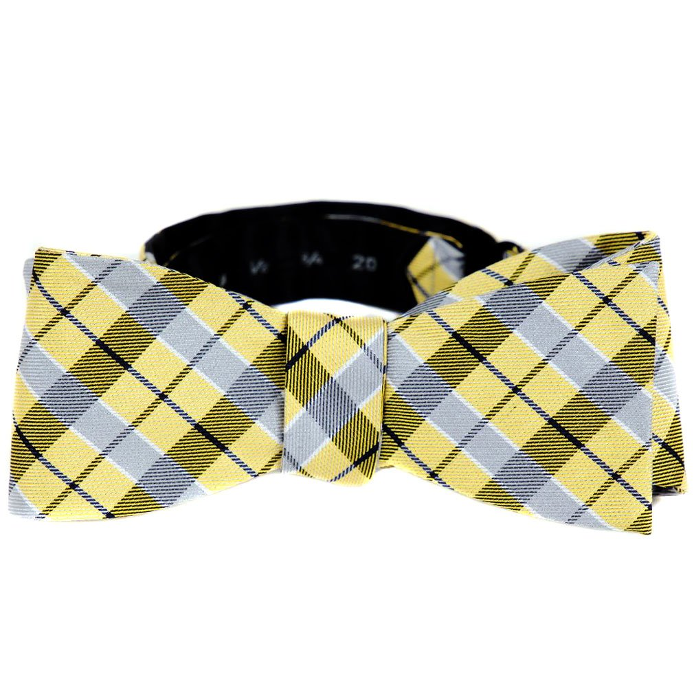 FBTZ-114 - Mens Aficionado Self Tie Bow Tie Yellow Gray