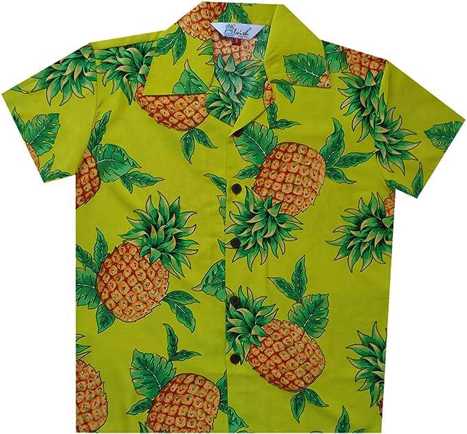 Camisas Hawaianas para niños de piña Hoja Playa Aloha Casual Holiday Camp Manga Corta Amarillo Amarillo S: Amazon.es: Ropa y accesorios