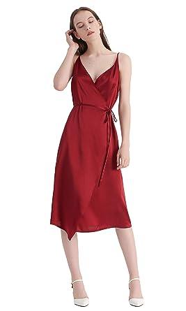 LILYSILK Robe de Soirée en Pure Soie Robe à Fines Bretelles Taille Nouée  Robe Décolletée V 091df00b8fc1