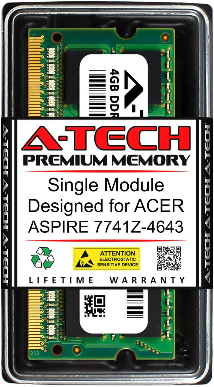 A-Tech 4GB RAM for ACER Aspire 7741Z-4643   DDR3 1333MHz SODIMM PC3-10600 204-Pin Non-ECC Memory Upgrade Module