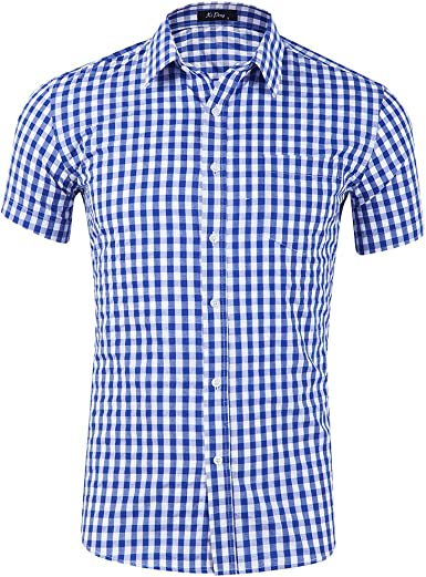 Anfooto Camisa Hombre Manga Corta a Cuadros Multicolores Botón Bolsillo Casual: Amazon.es: Ropa y accesorios