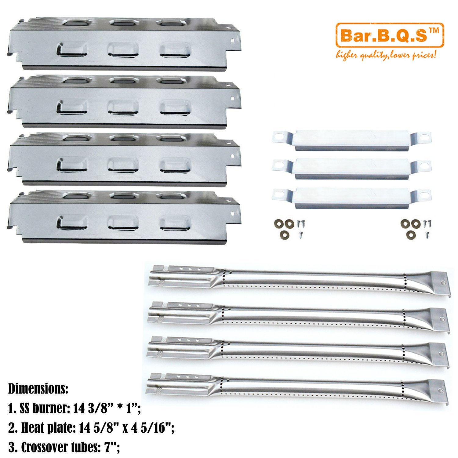 Bar.b.q.s Replacement Charbroil 463420507,463420509, 463460708, 463460710 Gas Grill Stainless Steel Burners, Carryover Tubes, Stainless Steel Heat Plates (Repair Kit)