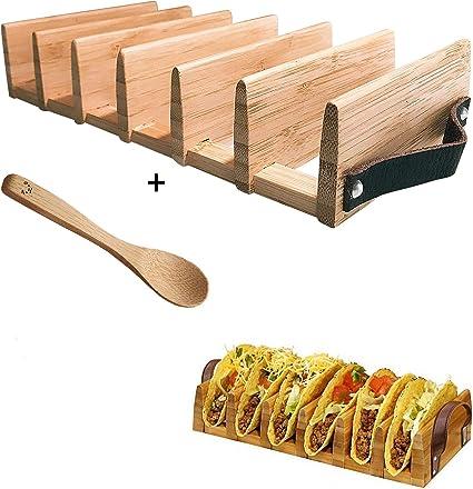 Amazon Co Jp Pj Modern Art タコスホルダースタンド 木製スプーン付き 柔らかくハードシェルタコススタンド 高品質で丈夫な素材 6タコススロット パーティーやご自宅での楽しい時間のための準備パッケージ ホーム キッチン