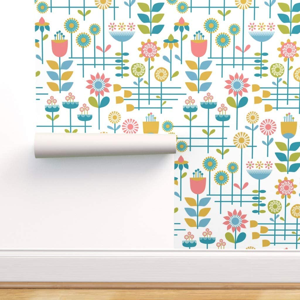 Spoonflower Peel And Stick Removable Wallpaper Retro Flowers Mid