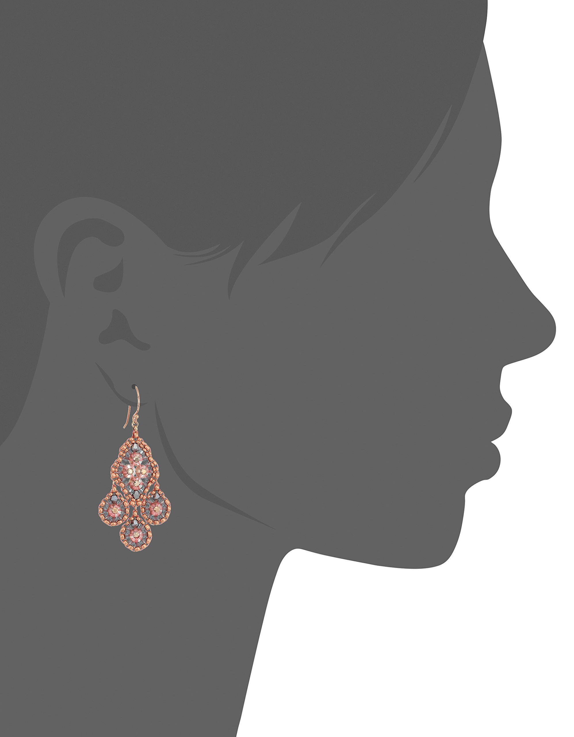 Miguel Ases Small Quadruple Swarovski Cluster Center Contrast Drop Earrings, Rose Gold and Flint by Miguel Ases (Image #2)