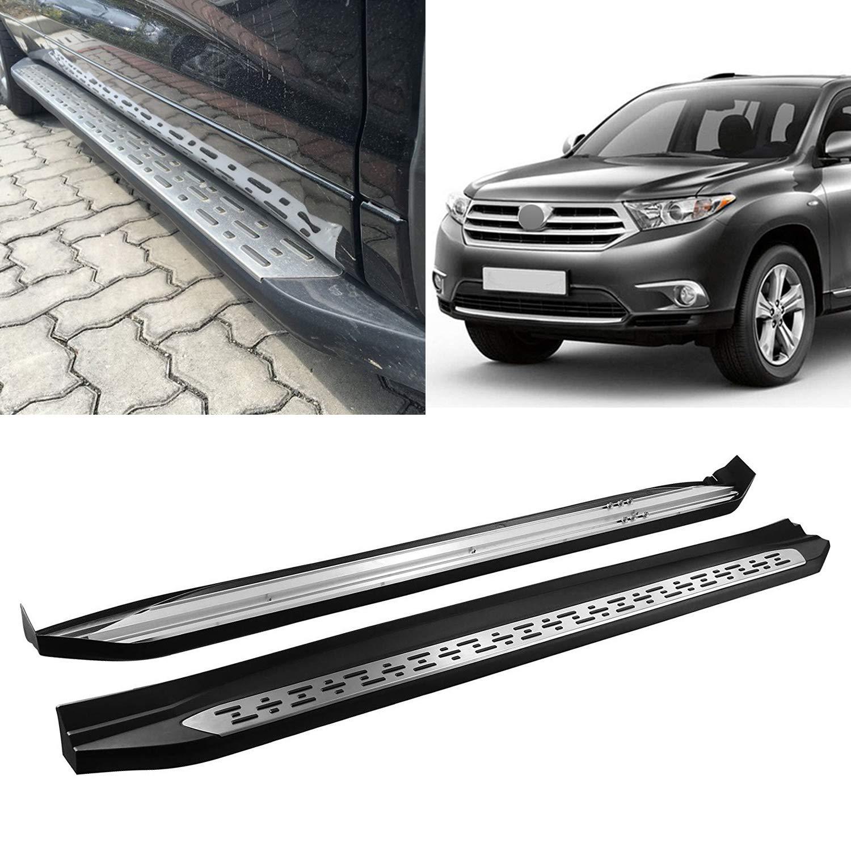Black Side Step Rails Running Boards Fits 2015-2019 Toyota Highlander Aluminum OE Style