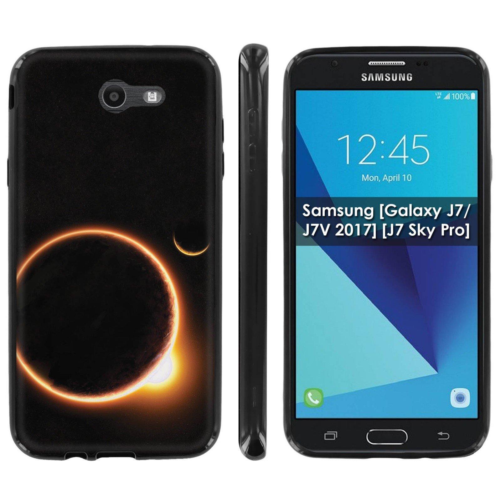 Samsung [Galaxy J7/J7V 2017] [J7 Sky Pro] Soft Mold [Mobiflare] [Black] Thin Gel Protect Cover - [Solar Eclipse] for Galaxy J7 [2017] [5.5'' Screen]