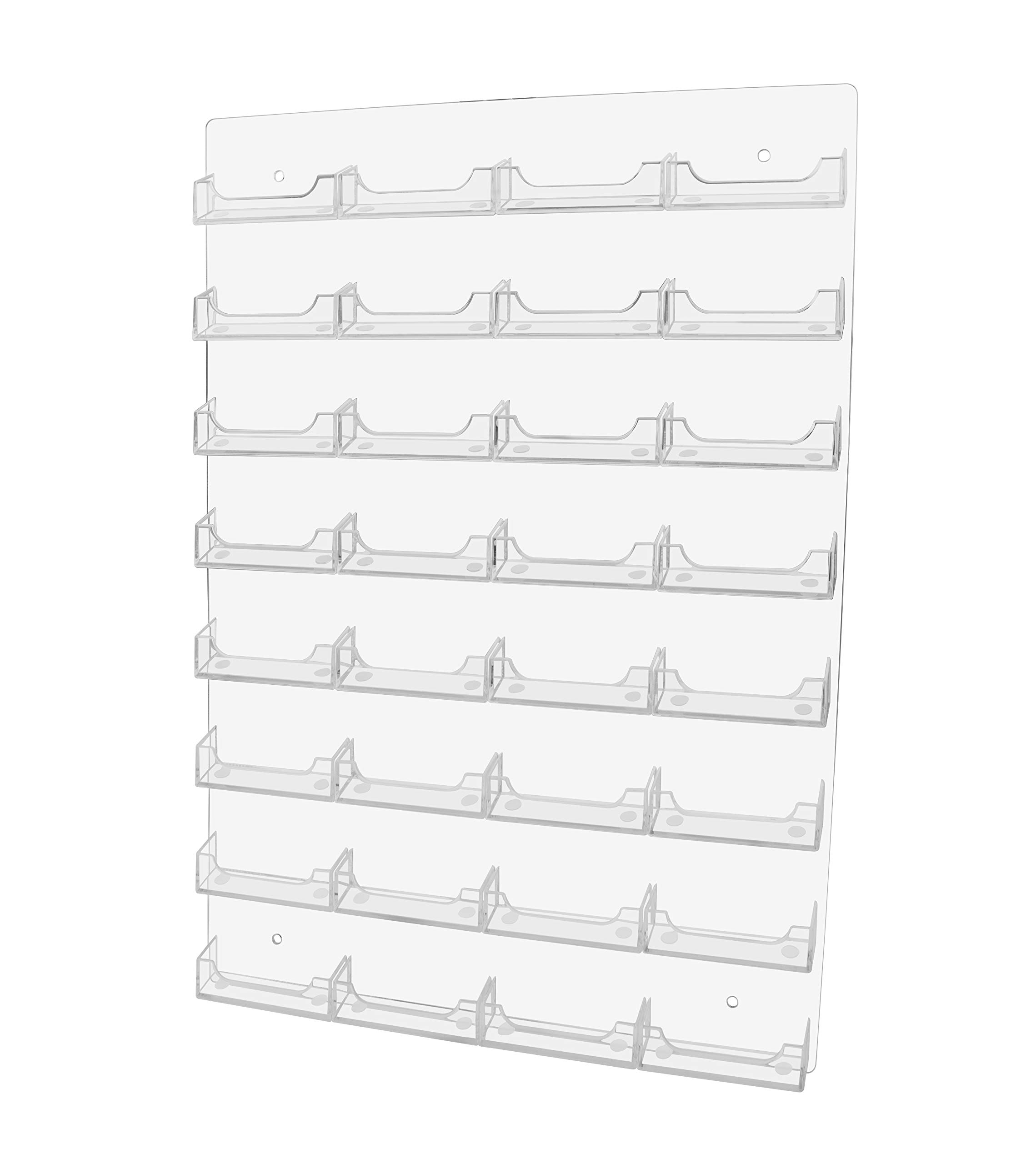 Marketing Holders Multi Pocket Wall Mount Business Card Holder Rack - Acrylic Clear 32 Pocket