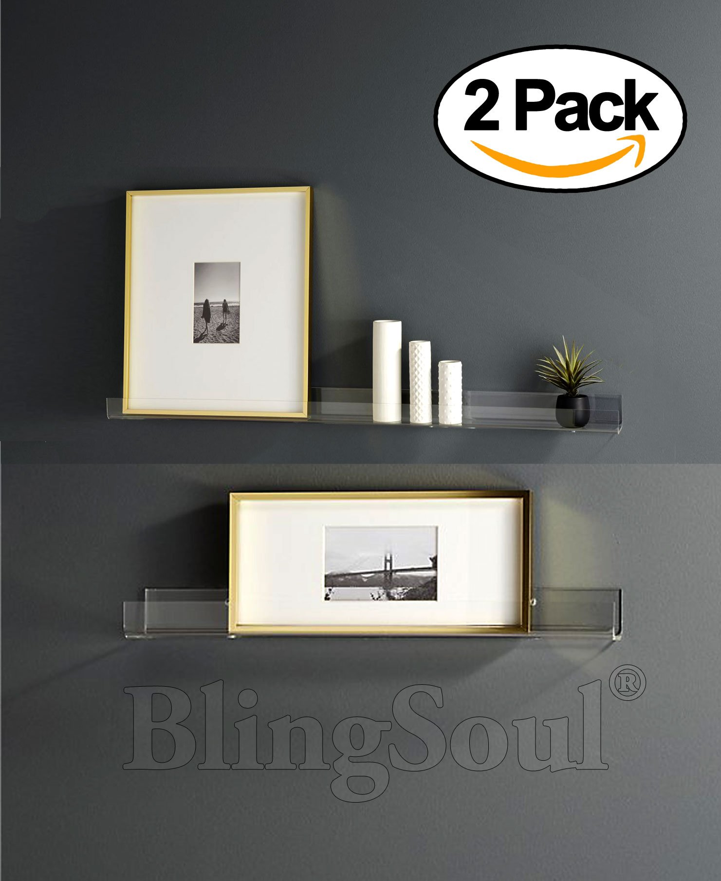 Fine Details About Clear Floating Shelves 2 Pack 15 Inches Non Wooden Wall Decor Hanging Bookshelf Download Free Architecture Designs Embacsunscenecom
