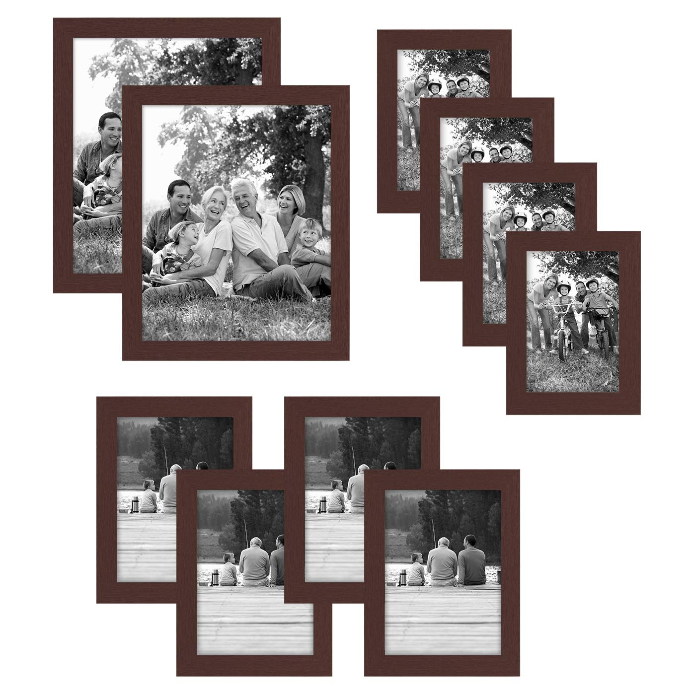 Americanflat 10-Piece Multi Pack Mahogany Frames; Includes (2) 8x10 Frames, (4) 5x7 Frames, (4) 4x6 Frames by Americanflat